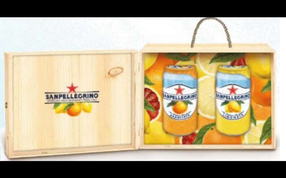 Sanpellegrino Sparkling Fruit Beverage Wooden Couvette (2 cans)